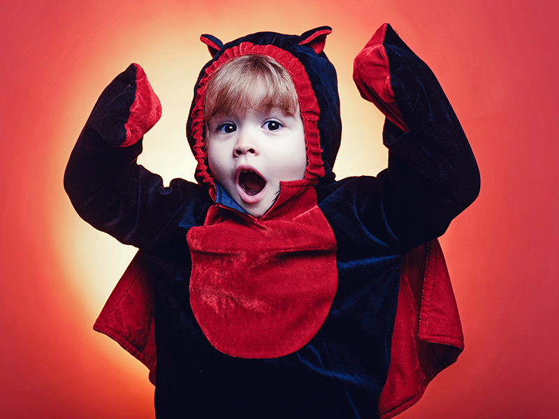 Young boy in his Halloween costume