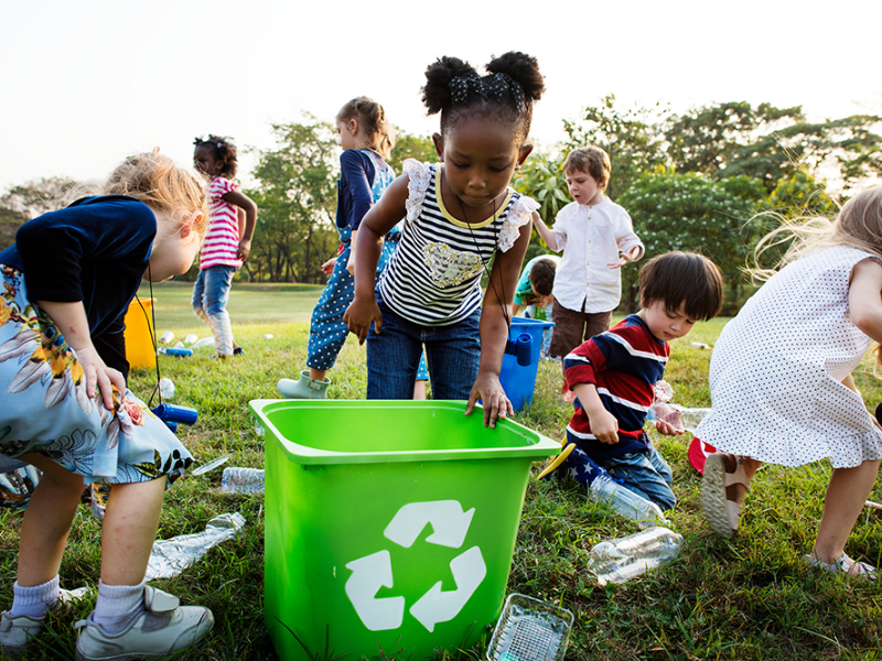 children recycling for Earth Day